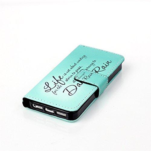 5S Coque, iPhone 5S Coque, Lifeturt [ Une fleur ] Coque Dragonne Portefeuille PU Cuir Etui en Cuir Folio Housse, Leather Case Wallet Flip Protective Cover Protector, Etui de Protection PU Cuir Portefe E02-Pluie19193