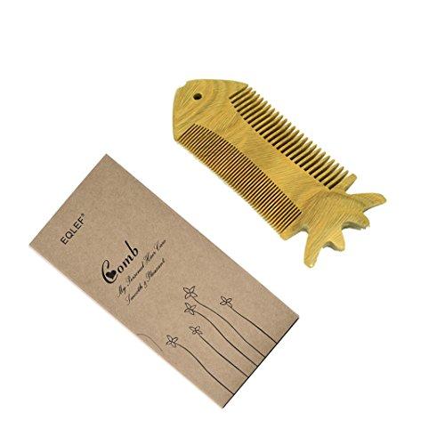 EQLEF® Grün Sandelholz keine statische Handarbeit Kamm, Schnurrbart Holzkamm, Vollbart hölzernen Kamm, (Schnurrbart Und Vollbart)
