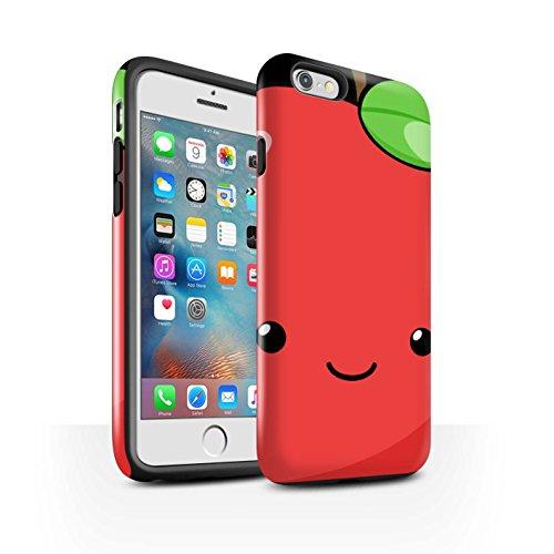 STUFF4 Glanz Harten Stoßfest Hülle / Case für Apple iPhone 7 / Wassermelone Muster / Kawaii Essen Kollektion Apfel