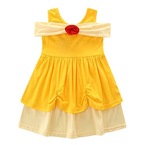 LEXUPE Kinder Kinder Mädchen Prinzessin Belle Bowknot Geburtstag Kleider Kostüm Kleidung(Gelb,140)