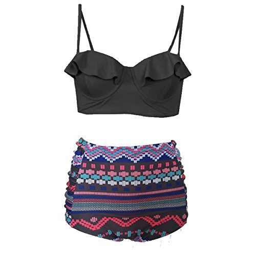 Dissa SWS010 Bandeau Push Up Bikini Set Damen Badeanzug Große Größen,Schwarz&Blume,XXXL