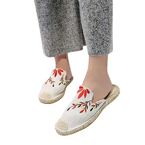 LILIHOT Frauen Außenhandel Größe Mode Persönlichkeit bestickte Stroh Hausschuhe Sandalen Sommer Flache Sandalen Strandschuhe Sen Frauen Halbschuhe Hausschuhe elastische Sportschuhe