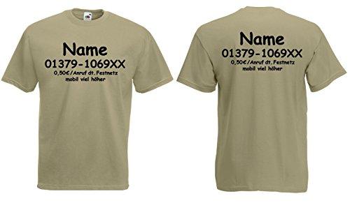 dschungel kostuem damen Fruit of the Loom Dschungelcamp T-Shirt inkl. Wunschname+Telefonnummer kostüm|Khaki-M