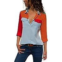 Damen T Shirt,Geili Frauen Casual Langarm Farbblock Taschen Button T Shirts Damen Mode Hemd Basic Tops Bluse Langarmshirt... preisvergleich bei billige-tabletten.eu