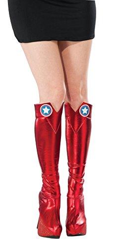 Generique - Captain America-Stiefelstulpen für Superheldinnen Kostümzubehör rot