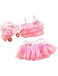 Orien Baby Girls Kids 3 Piece Set Ruffle Bikini Swimwear Swimsuit Hat Cap