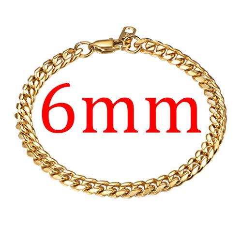 Imagen de prosteel pulsera para hombre cadena cubana de acero inoxidable 6mm/10mm/14mm de ancho, 19cm 21cm de longitud, dorado/negro/plateado opcional dorado 6mm ancho, 19.00  alternativa