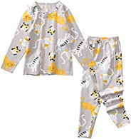 ZYUPHY Pigiami Bambini Pigiama Due Pezzi Cotone Pigiameria Top Camicie Pantaloni Sets Animali Manica Lunga Pyj