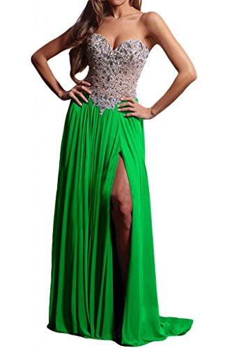 Toscana sposa lucido a forma di cuore Schlitz cristallo Chiffon sera vestiti lungo Party ball Fest appendiabiti Verde