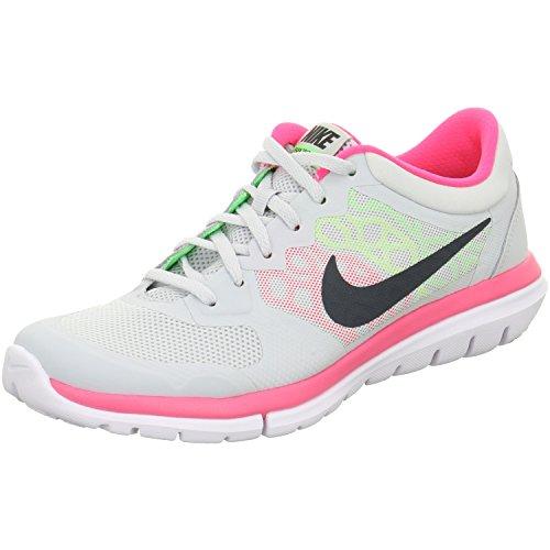 Nike Wmns Flex 2015 RN, Chaussures de Running Entrainement Femme Argent - Plateado (Pr Pltnm / Mtlc Hmtt-Vltg Grn-Hy)