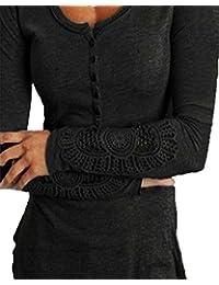 ZANZEA Femme Haut Chemise en Coton à Dentelle Crochet Chemisier à Manches Longues M~XXL