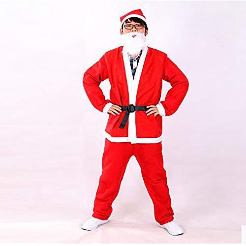 GLP Herren Santa Father Weihnachten bärtigen Kostüm Ball Kostüm Weihnachten Kleidung Set Luxus Luxus hohe Kostüm rot 5 Stück ()