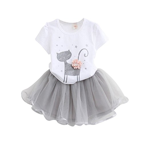 Bestanx Summer Baby Girls Kitten Fashion Cartoon Little Printed Short Sleeved T-shirt + Tutu Dresses Summer Dress