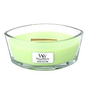 WoodWick le Thé Limette Bougie, Verre, Vert, 11,3 x 18,9 x 8,8 cm