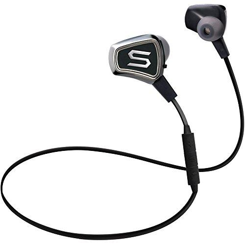 SOUL Impact Wireless- kabellose In-Ear Kopfhörer mit Bluetooth V4.0, für Smartphones (iPhone X, Samsung Galaxy S9 uvm), schweissresistent und wasserfest mit bis zu 8 Stunden Spielzeit, chrome/schwarz (Chrome-iphone-kopfhörer)
