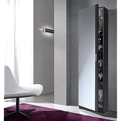 Habitdesign Kristal 007866G - Armario Zapatero con Espejo, Color Gris Ceniza, Medidas: 180 x 50 x 20 cm de Fondo