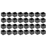 Mogokoyo Sedia Gamba Tappi Piedi 32pcs Piedini per Tappeti, Copritavolo per Mobili Adatti per Gambe Rotonde Quadrate 25mm Piedini Protezione-Nero