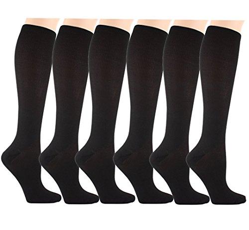 Matchwill 6 Paire Chaussettes de Compression pour Hommes et Femmes Le Confort est Conçu à l'utilisation Quotidienne, de Fonctionnement Idéal, de Grossesse, de Vol et de Voyage (Noir, S/M)