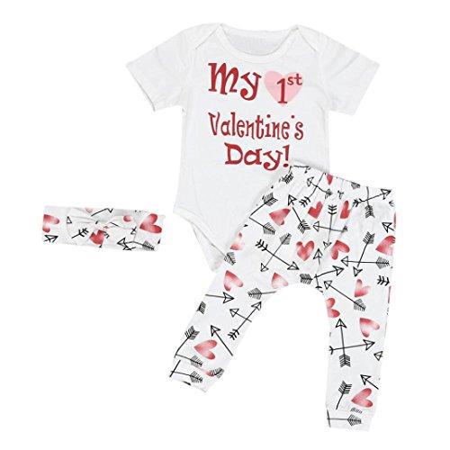 Mädchen Anzüge Internet Baby 3PCS Valentine Outfits Set (weiß, 70) (Jersey-handschuh Gefütterte Rote)