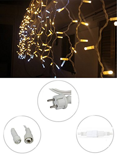 Vetrineinrete® Tenda luminosa di natale 63 led 2 metri prolungabile luce bianca calda impermeabile luci natalizie per esterno fili sfalsati bianchi addobbi e decorazioni natalizi P38