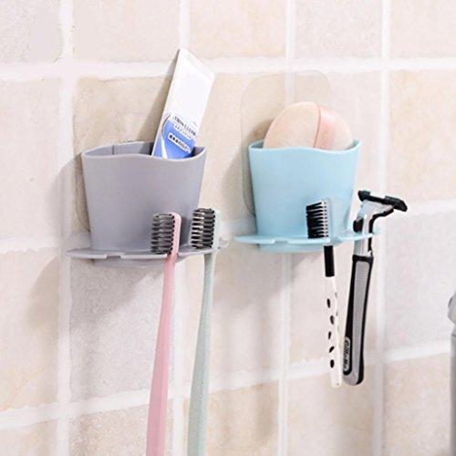 Upxiang Hängende Badezimmer Zahnbürstenhalter Zahnbürste Rack Küche Drain Rack Storage Utensil Box Küche Tragbare hängende Drain Tasche Korb Bad Lagerung (Grau) Hängende Lagerung-körbe
