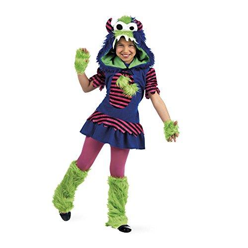 Süßes Monster Karneval Kostüm Kinder 4-teilig Kleid Kopfbedeckung Stulpen Handschuhe - 3/5 (Monster Niedliche Kinder Kostüme)