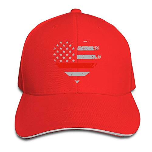 AORSTAR Kappe Baseball Cap Unisex Thin Red Line Heart Flag Firefighter Wife Baseball Hat Baseball Cap Snapback Outdoor Breathable Sports Sun Hat - Blue Hat Rack Wall
