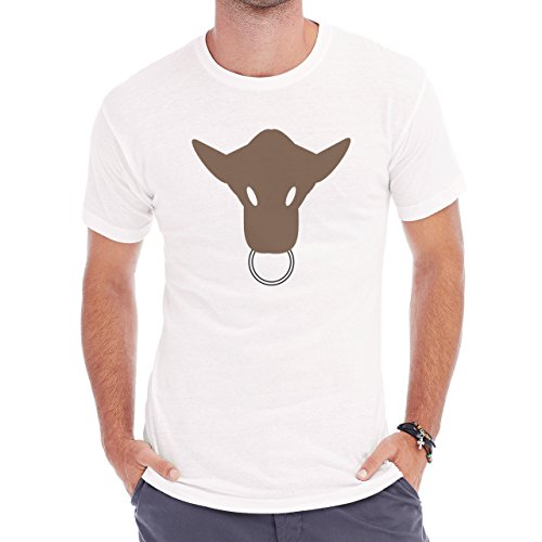 Bull Cow Animals Farm Brown Logo Head Ring Herren T-Shirt Weiß