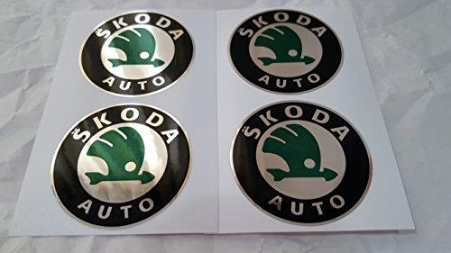 4 x 55mm Diametro SKODA centro di rotella di Cap Emblem Sticker autoadesivo Per Piso Superfici prezzo poco costoso - Centro Di Rotella Cap