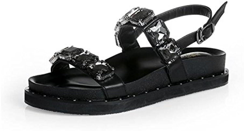 Frauen Sandalen Mädchen Strass Niet Mode Lässig Bequeme Schuhe Dicksohlen Flachen Heels Shopping Hausschuhe (ö