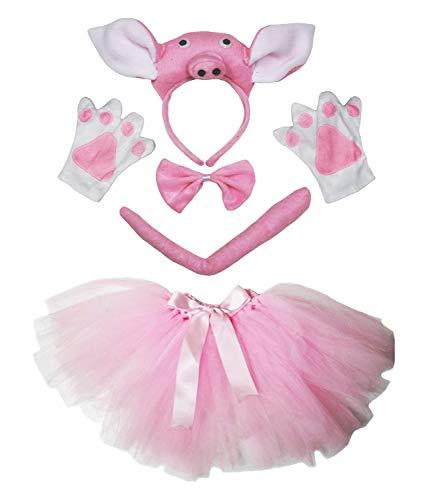 Lady Kostüm Zubehör Pink - petitebelle Stereo Pig Kostüm Stirnband Schwanz Handschuhe pink Tutu 5-teiliges Set für Lady Gr. One Size, rose