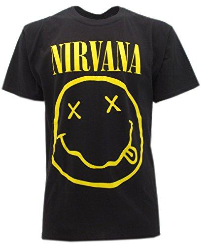 t-shirt NERA NIRVANA-SMILE- maglietta originale -spedita da T-shirteria- XS S M L XL