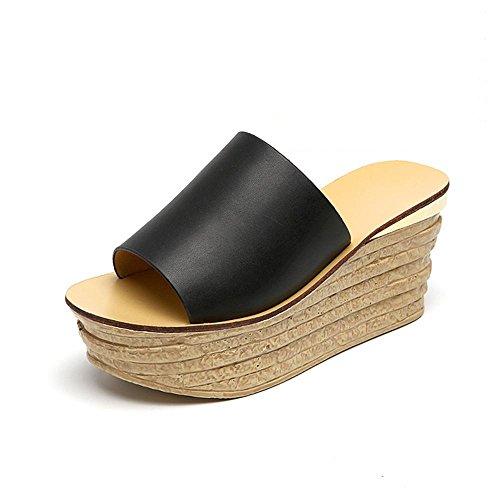 WZW Frauen-Art und Weise Allgleiches Keilabsatz High Heel Muffin Sole Plattform Hausschuhe Sandalen 38