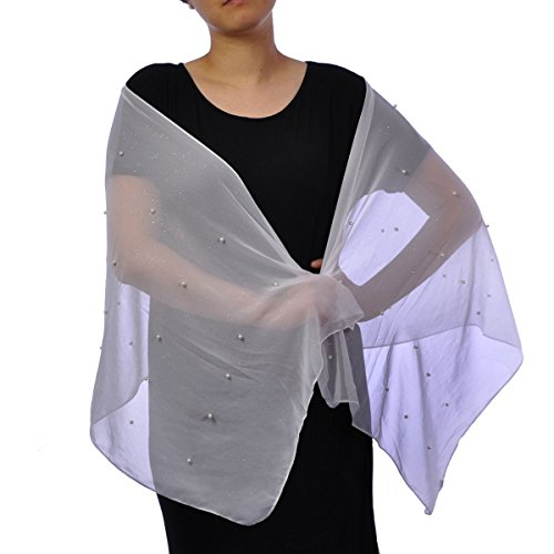 Bridal Pearl Embellished Wedding Wrap Shawl with Gentle Shiny Glitter Bridesmaids Evening Party Wear |Available 2 Sizes