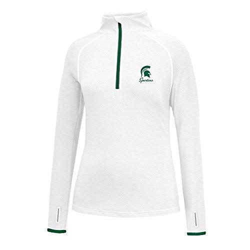 J America NCAA Frauen 'S Script Logo Power Durch Poly 1/2Zip Jacke, Damen, Power Through 1/2 Zip, Michigan State Spartans, XX-Large -