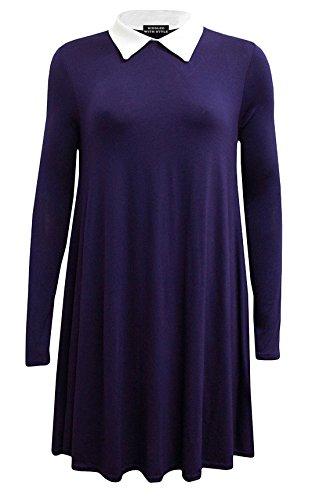 Petite Leinen (Fashion 4Less Langeärmliges Damenkleid mit Peter-Pan-Kragen in Plusgröße in Größen von 34 bis 52/54 Gr. 34-52, navy)