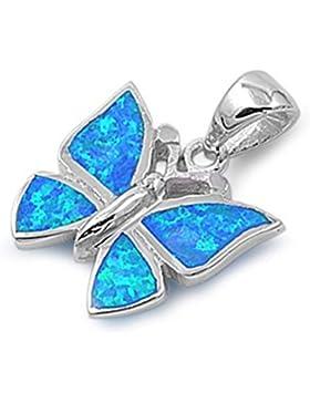 Sterlingsilber Anhänger mit Lab Opal - Schmetterling