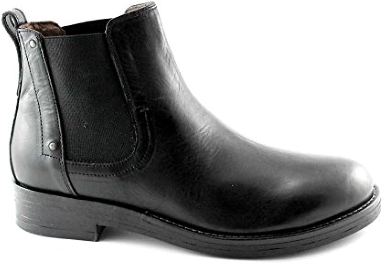 Nero Giardini Black Gardens Schuhe 4651 Schwarze Lederstiefel Mann Beatles