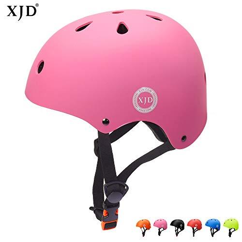 XJD Verstellbarer Kinder-Helm für Multisport, BMX, Skateboard, Fahrradhelm, XJD-KH104, Rose, S: 48-54 cm / 18.89'-21.26'