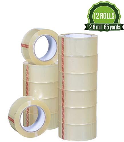 Robustes transparentes Packband 2,8 mil, 1,88 x 65 Yards. Big 12 Rollen Umzugsklebeband geeignet zum Nachfüllen von Spenderpistole, langlebig und einfach zu verwenden