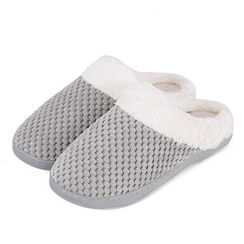 Mabove Hausschuhe Damen Winter Wärme Bequem Plüsch Pantoffeln Indoor Home Rutschfeste Kuschelig Weite Leicht Slippers (Grau,40/41 EU)