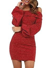 Amlaiworld Vestidos de Fiesta Mujer Cortos otoño Invierno Suéter Camisetas Vestido Sexy Delgado con Cuello Halter de un Hombro y Manga de Linterna para Mujer Jesery