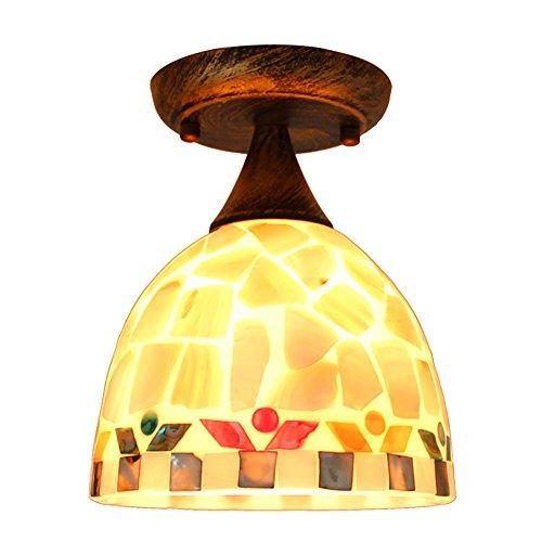 Tiffany Plafonnier de style contemporain simple couloir Lampe Plafonnier Lampe éclairage intérieur balcon Couleur naturelle - Bol et abat-jour en verre créatif à éclairage Plafonnier design ø17 cm E27