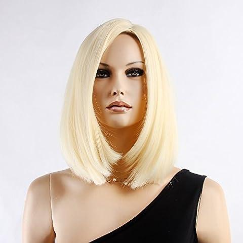 Stfantasy des Perruques pour femme courte droite résistant à la chaleur Cheveux synthétiques 38,1cm 130g Fluffy Perruque Peluca gratuit Cheveux Net + Clips, Blond clair