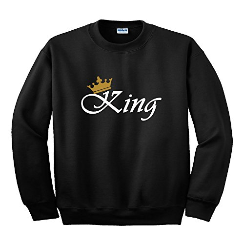 "Felpa con scritta oro ""King"" o ""Queen"" + simbolo corona - BLACK KING"