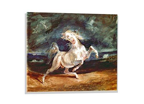 kunst für alle Glasbild: Eugène Delacroix Vor dem Blitz scheuendes Pferd, Hochwertiges Wandbild, Brillanter Druck auf Echtglas, 70x50 cm