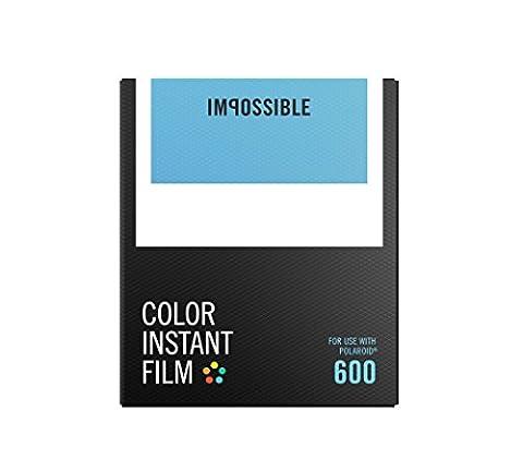 Impossible - 4514 - Nouveau : pellicule couleurs pour Appareil Polaroid type P600 - cadre blanc - 8 feuilles par boîte