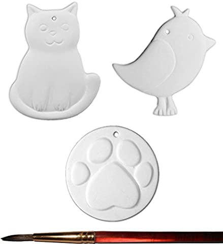 Cat, Bird and Paw Print Ornaments and Paintbrush - Set of 3 - Paint Your Own Ceramic Keepsake by New Hampshire Craftworks