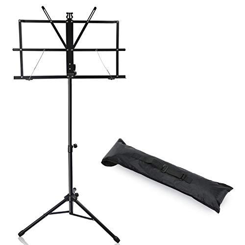 CAHAYA Notenständer Notenpult klappbar stabil Metal Einstellbar mit Wasserdicht Tragetasche Höhenverstellbar (70-140cm)