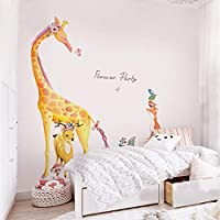BMBM Forest Animal Large Giraffe Elephant Tree Wall Stickers for Kids Room Children Wall Decal Nursery Bedroom Decor Mural